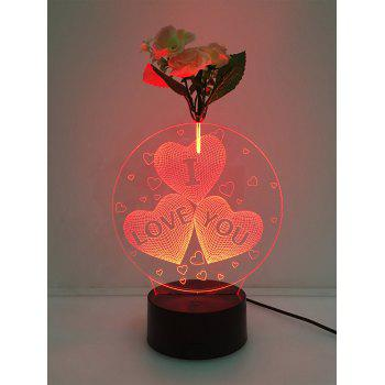 Flower Decorated 3D Heart I Love You Color Change LED Night Light