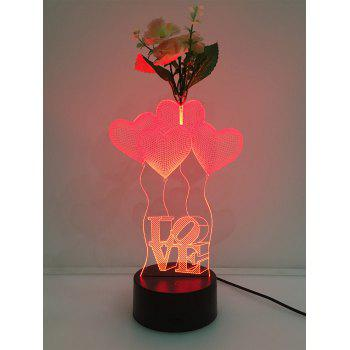 Flower Decorated 3D Heart Color Change Touch Night Light