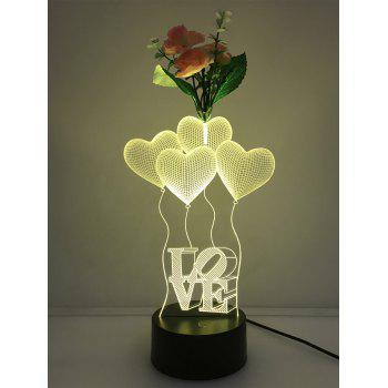 Flower Decorated 3D Heart Color Change Touch Night Light - TRANSPARENT