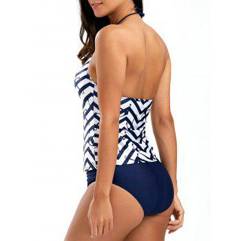 String Halter Zigzag Anchor Tankini Set
