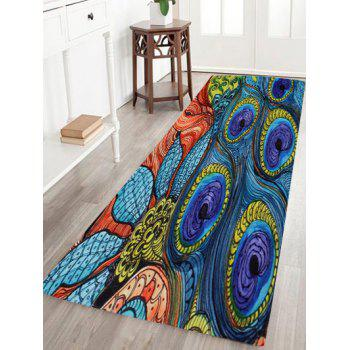 Peacock Feather Coral Velvet Door Floor Rug