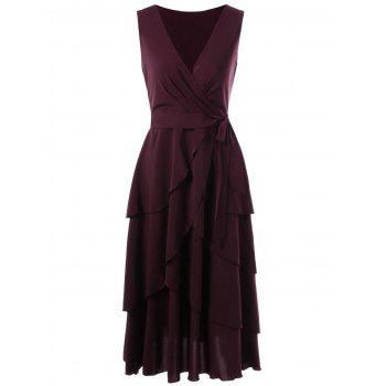 Sleeveless Layered Wrap Dress