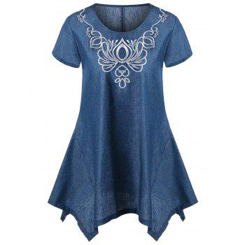 Embroidery Asymmetric Denim T-Shirt