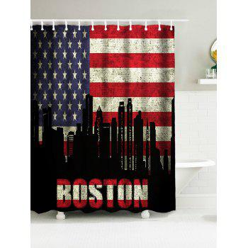 Patriotic American Flag BOSTON Word Polyester Water Resistant Bath Curtain