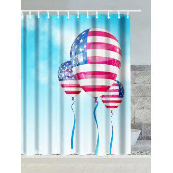 Patriotic American Flag Balloon Water Resistant Polyester Shower Curtain