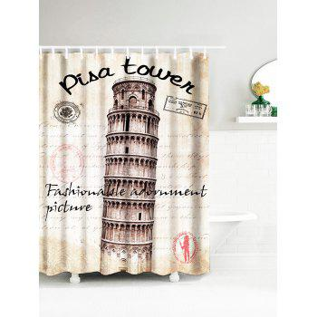 Vintage Leaning Tower of Pisa Water Resistant Fabric Bath Curtain