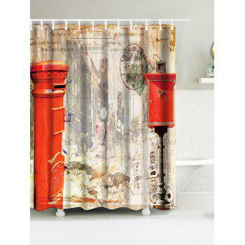 Vintage Mailbox Building Waterproof Fabric Shower Curtain