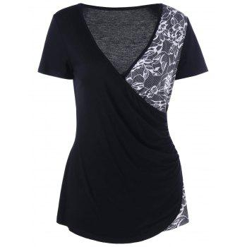 Lace Insert V Neck Surplice T-Shirt