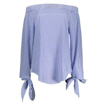 Off The Shoulder Self Tie Striped Blouse
