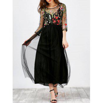 Floral Embroidered Semi Sheer Mesh Dress