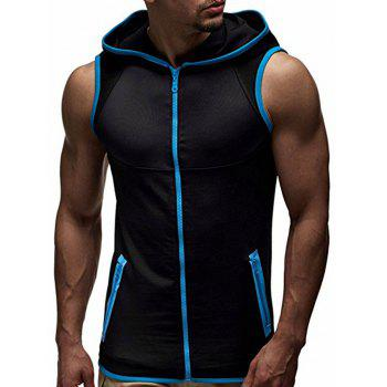 Contrast Trim Zipper Up Hooded Vest