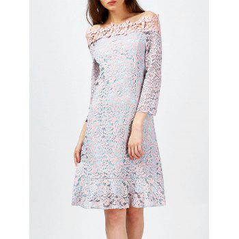 Lace Overlay Off The Shoulder Dress