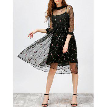 Lace Floral Embroidered Dress and Cami Dress