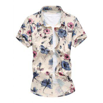 Short Sleeves Floral Pattern Shirt