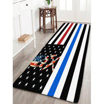 Patriotic American Flag Skull Antiskid Flannel Bathroom Rug