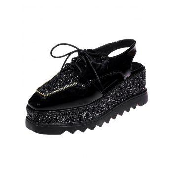 Sequins Lace Up Platform Shoes - 38 38