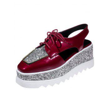 Sequins Lace Up Platform Shoes - DEEP RED DEEP RED