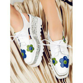 Flowers Square Toe Platform Shoes - 37 37