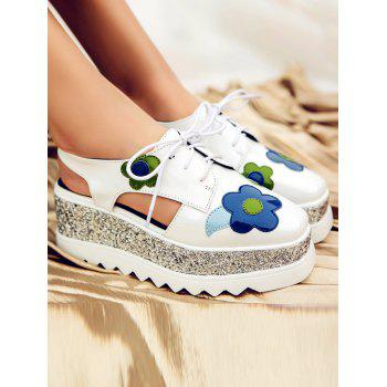 Flowers Square Toe Platform Shoes - WHITE WHITE