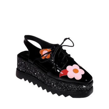 Flowers Square Toe Platform Shoes - BLACK 39