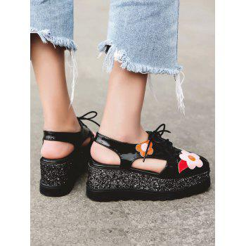 Flowers Square Toe Platform Shoes - BLACK BLACK