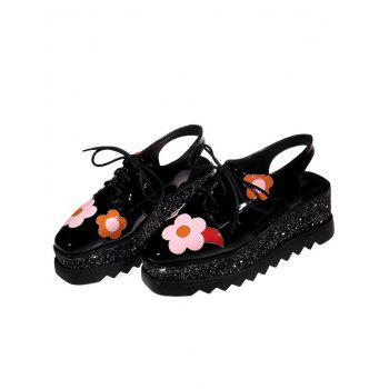 Flowers Square Toe Platform Shoes - 39 39