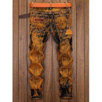 Distress Patch Embellished Cuffed Jeans - EARTHY 34