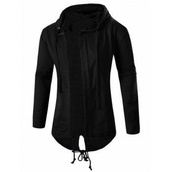 High Low Hooded Open Front Coat