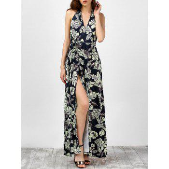Halter Leaf Hawaiian Print High Slit Backless Maxi Dress