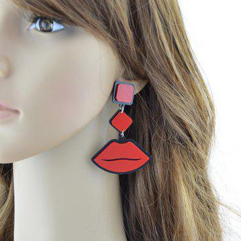 Acrylic Geometric Lips Earrings - RED