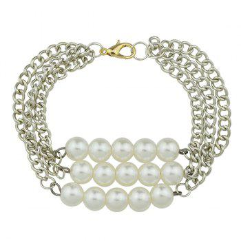 Faux Pearl Multilayered Chain Bracelet