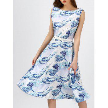 Boat Neck Printed Sleeveless Midi Dress