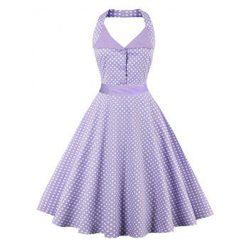 Backless Polka Dot Halter Vintage Dress