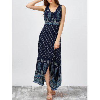Paisley Print Maxi High Slit Beach Dress
