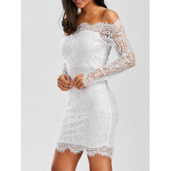Off Shoulder Scalloped Lace Short Summer Wedding Dress