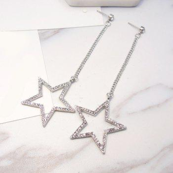 Rhinestone Chain Star Drop Earrings