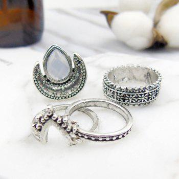 Artificial Gem Teardrop Moon Gypsy Ring Set