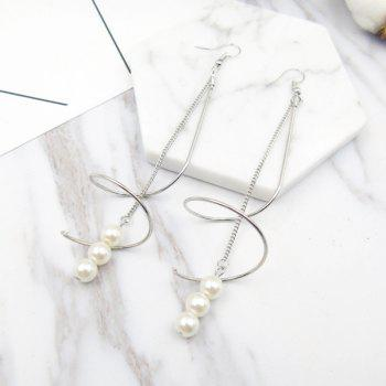 Faux Pearl Long Chain Earrings