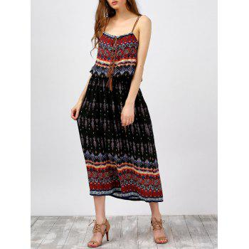Criss Cross Tassel Printed Spaghetti Strap Dress