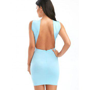 Ruched Bust Cut Out Dress Backless Club - Bleu clair S