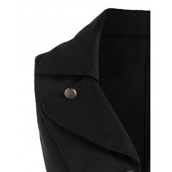 Double Breast Lapel High Low Dressy Waistcoat - BLACK BLACK