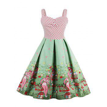 Polka Dot Scenic Print Vintage Dress