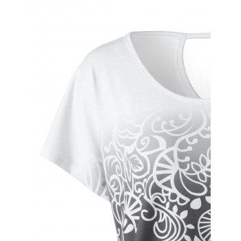 Plus Size Floral Ombre T-Shirt - WHITE GREY 2XL