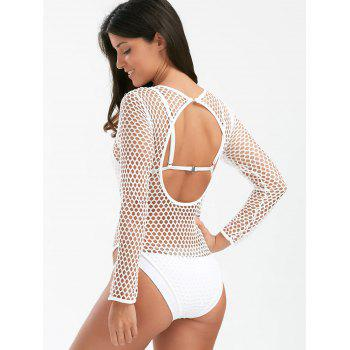 Backless Fishnet Long Sleeve Bodysuit Cover Up - WHITE WHITE