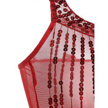Lace Sequins Fringe Sheer Babydoll - RED ONE SIZE