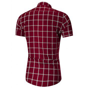 Short Sleeve Checked Button Down Shirt - WINE RED WINE RED