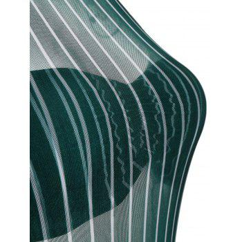 Mesh Sheer Striped Underwire Swimsuit - GREEN GREEN