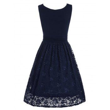 High Waist Drape Lace Panel Dress - PURPLISH BLUE L