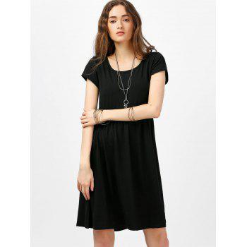 Scoop Neck High Waist Fit and Flare Dress - BLACK XL