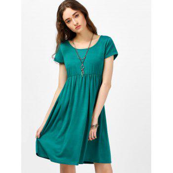 Scoop Neck High Waist Fit and Flare Dress - GREEN S